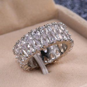NEW 925 Silver Teardrop Diamond Double Layer Ring